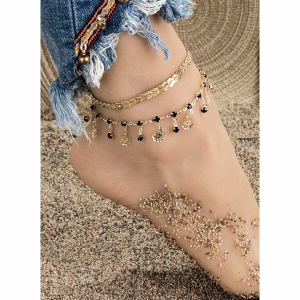 Casual Crystal Floral Anklet (1905609845)