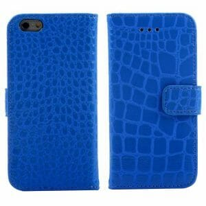 """A04 Crocodile Pattern Faux Leather Flip Case With Mount Stand & Card Slot for 5.5"""" iPhone 6 Plus/iPhone 6S Plus - Dark Blue"""