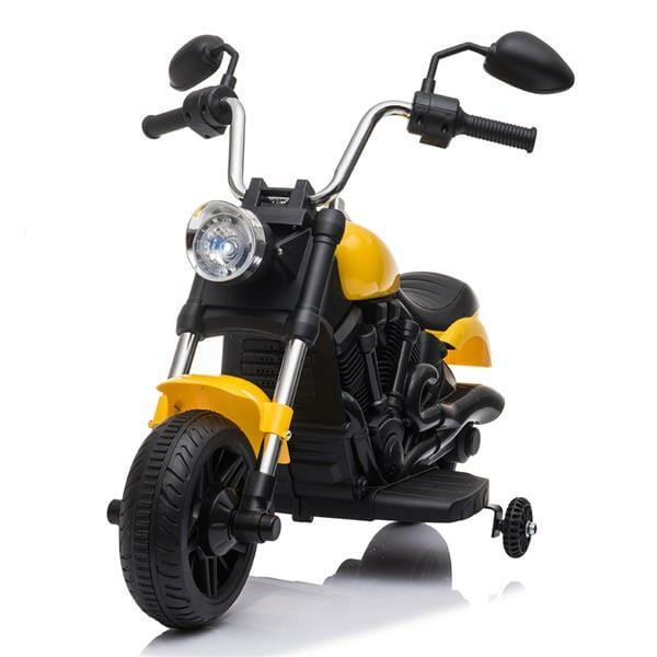 Kids Electric Ride On Motorcycle With Training Wheels 6V - Yellow