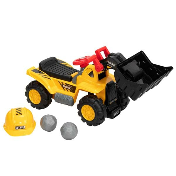 LEADZM Children's Ride On Bulldozer Outdoor Digger Scooper Pulling Cart with Front Loader Digger Horn Underneath Storage