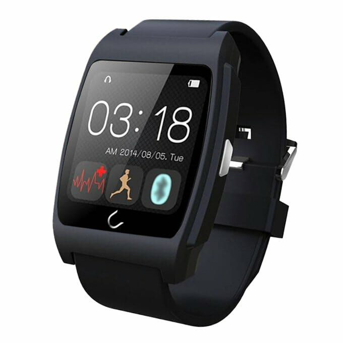 """UX 1.44"""" NFC Smart Watch BT4.0 Uwatch Anti Lost Sport Health Heart Rate Monitor For Android iOS - Black"""