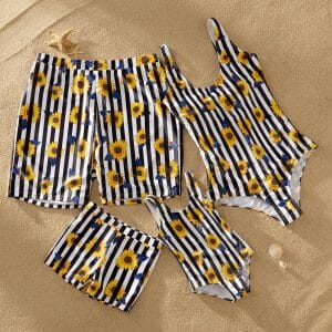 Sunflower and Striped Print Matching Swimsuits