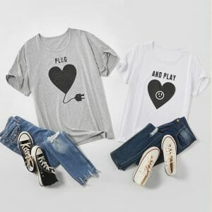Love Print Pattern Plug and Play Design Cotton Couple Tops