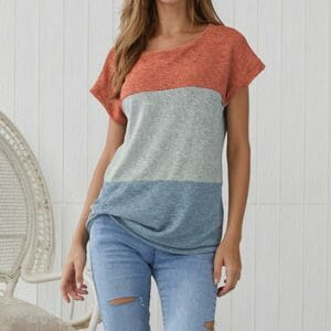 Casual Short-sleeve Colorblock Tee For women