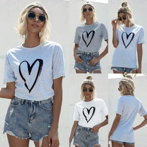 Casual Short-sleeve Love Printed Tee For women